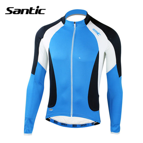 2016 Santic Brand Men Cycling Long Jersey Blue Quick-Dry Bike Racing Spring Cycling Clothes Ciclismo Basic Style S-3XL MC01029