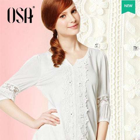 2014 Summer Fashion Cotton Lace Splicing Half Sleeve T-shirt Casual Hollow Out Tops Tees ST420080