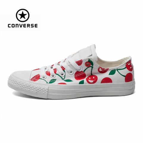 Original Converse all star shoes low women sneakers Hand-painted graffiti white canvas shoes women Skateboarding free shipping