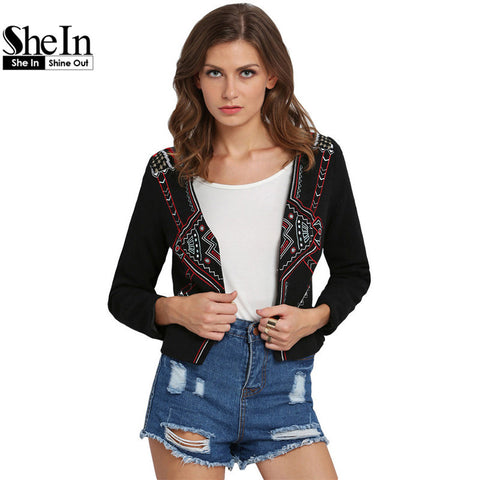 Brand Women's Sale Spring Clothing Ladies Trench Outerwears Black Long Sleeve Tribal Embroidered Crop Coat