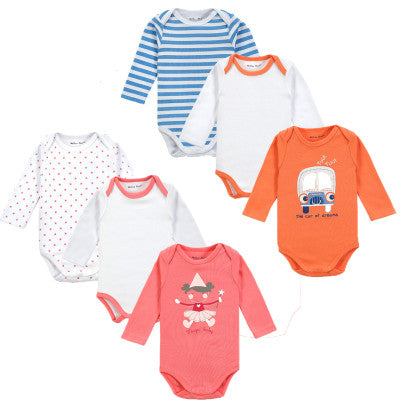 2015 Fashion 6 Pieces/lot Long Sleeve Baby Romper Cute Infant Underwear Winter Newborn Baby Clothes Roupa Infantil Next Body