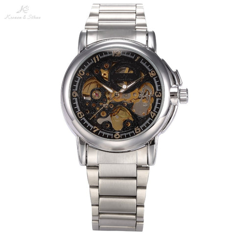 Brand New KS Business Type Black Skeleton Dial Silver Stainless Steel Band Black Analog Men's Automatic Mechanical Watch / KS039