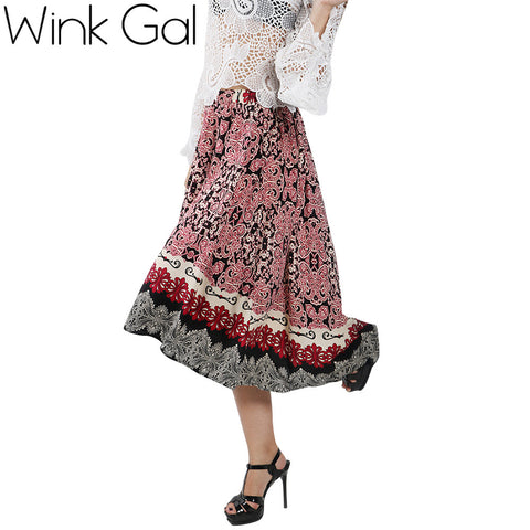 Mink Gal New Arrival Women  Long Skirts Floral Bohemian Style Printing High Waist Asymmetrical Maxi Skirts