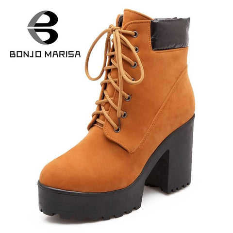 Ankle Boots High Quality Women Winter Boots Fashion Lace Up Design Round Toe Platform Shoes Square High Heels Big Size 34-43