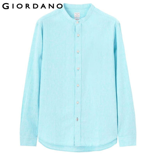 Giordano Men Linen Shirt Long Sleeves Cotton Blend Collar Shirts Casual Mens Branded Clothing Office Slim Fit Overhemd