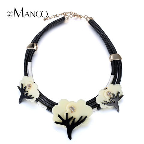 //Black leather choker collars flower jewelry necklace// cute jewelry necklace girl 2015 summer style short necklace eManco
