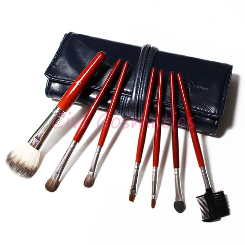 (Wolesale 10pcs/lot)7 Pcs Professional Makeup Brush Cosmetic Brushes with Black Leather Case Free Shipping