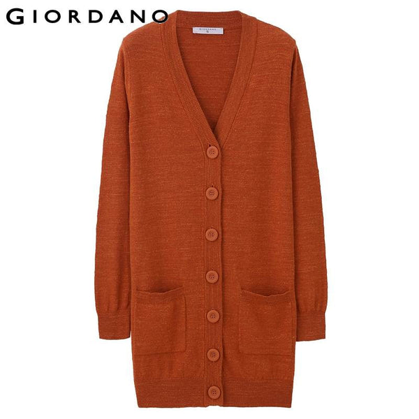 Giordano Women Solid Long Caridigan Soft Cotton V-Neck Sweaters Womens Knitted Cardigans Long Sweater Maglia Donna