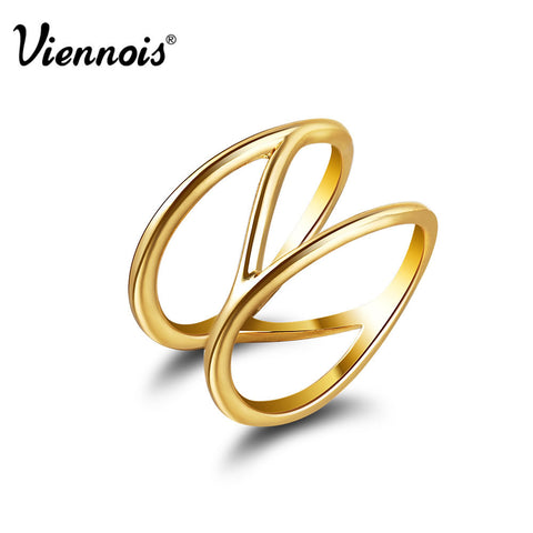 2015 Viennois New Fashion Women Gold Plated Jewelry Engagement Wedding Band Statement Ring Size 7 and 8