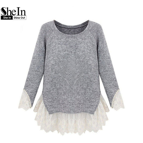 2014 Vestidos Casual Sale Free Shipping Autumn/Winter Newest Women's Fashion Grey Long Sleeve Contrast Lace Cute Knit Sweater
