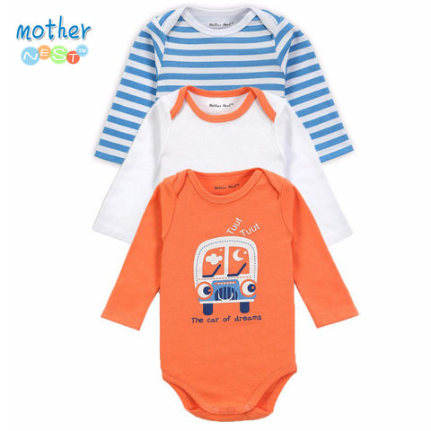 3 Pieces/lot 2014 New Fashion Kids Boys Clothes Cartoon Car Rompers Boy Girl's Wear Baby Romper Baby Clothing Freedrop Shipping