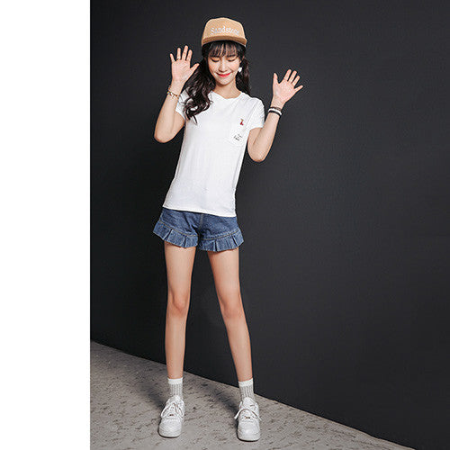 OTHERMIX 2016 summer personalized cartoon printing round neck Slim solid color T-shirt women