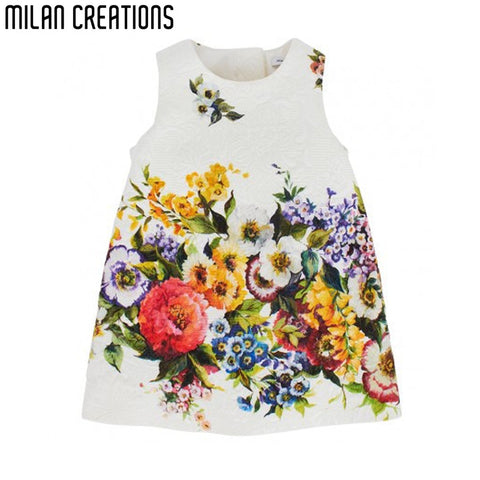 Hot Sale 2014 high end children princess dress, new baby girl print dress brand kids floral dress, girls party dresses, 2-8Y