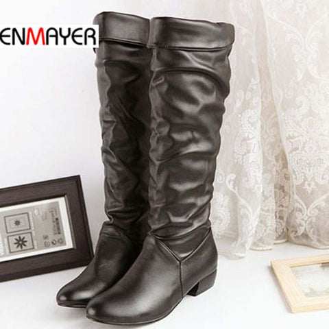 ENMAYER big size 34-43 Free Shipping new 2014 Newest Winter Mid-Calf Women Boots Black, White And Brown For Choice