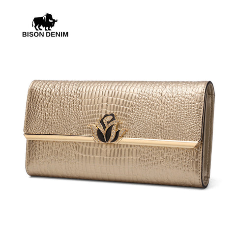 Bison Denim bicolor noble women long wallet cowhide leather dinner party socialite clutch bag