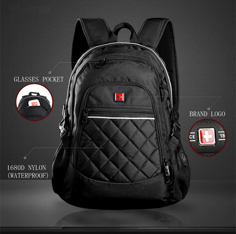 "Swisswin 2016 new style unisex backpack 15"" laptop bag diamond lattice bag multifunctional Nylon Mochila school bag sac a dos"