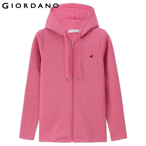 Giordano Women Embroidery Sweatshirt Hooded Woman Solid Hoodies Cotton Blend Tops Womens Casual Clothing Woman Hoody