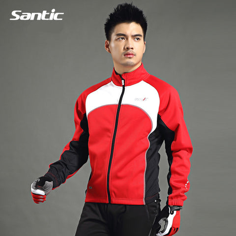 Santic Circle Mountain Red Cycling Winter Jacket Thick Long Sleeve Mens Outdoor Bicycle Sports Clothing C01024R