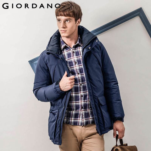 Giordano Men Downs Brand Men Down-Jacket Winter Warm Outdoor Long Parka Coat Machine Washable Casual Waterproof Parka