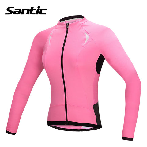 2016 Summer Santic Best Quality Cycling Jersey Pink Long Sleeve Women Jacket Mountain Bike Jerseys Sportswear Clothing L5C01056P