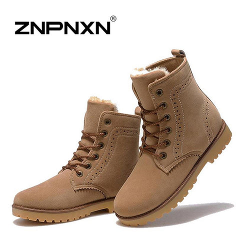2015 Winter Fashion Snow Boots women Warm fur shoes Outdoor Leisure men Martin Boots England Couples boots Botas Feminina