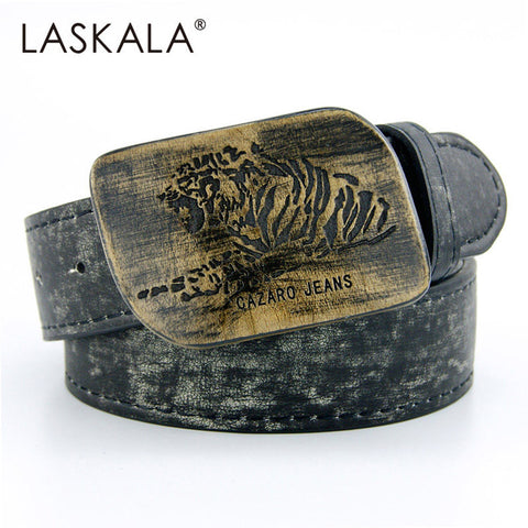 2015 belts for men Best New Men's Belt male leather Strap men wood buckle faux leather belt  tiger head belt cinto masculino