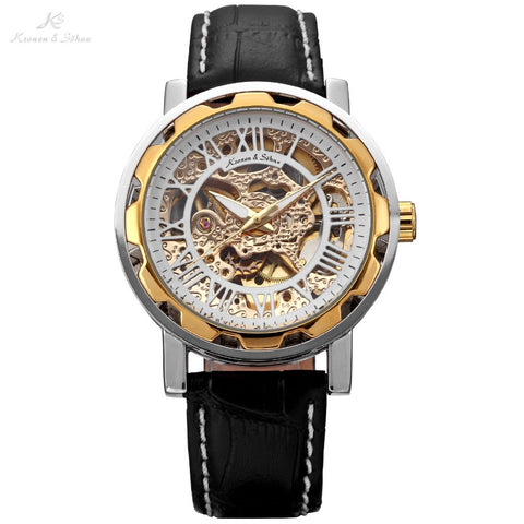 Classic Design Gold KS Men's Automatic Mechanical Gold Silver Stainless Steel Case Black Leather Band Analog Wrist Watch / KS081