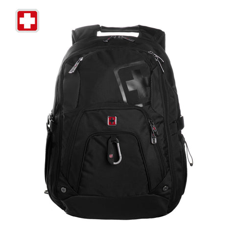"Swisswin Black Backpack for 15"" laptop Student College Nylon Backpack Men Cool Backpack with Card Holder Sport Hiking Travel bag"