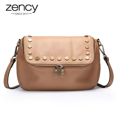 2016 NEW Italian Real Genuine Leather Ladies Handbag Rivets The Women's Messenger Bags for Women Cross Body Bag Satchel Purse