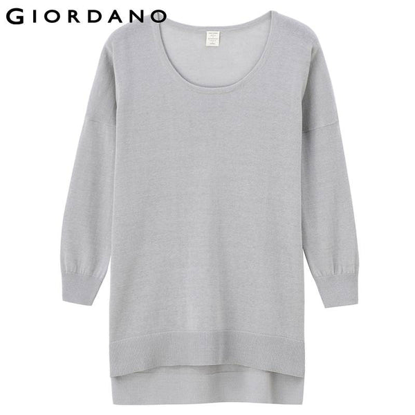 Giordano Women Striped Sweater Linen Blend Pullover Long Sleeved Soft Knitwear Crewneck Womens Clothes Jumpers Donna Maglioni