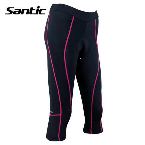 2016 Santic Women Padded Gel Cycling Shorts MTB Bicycle Bike Black Shorts Cycling Mujer Cycles 3/4 Tights Shorts Spring LC05048