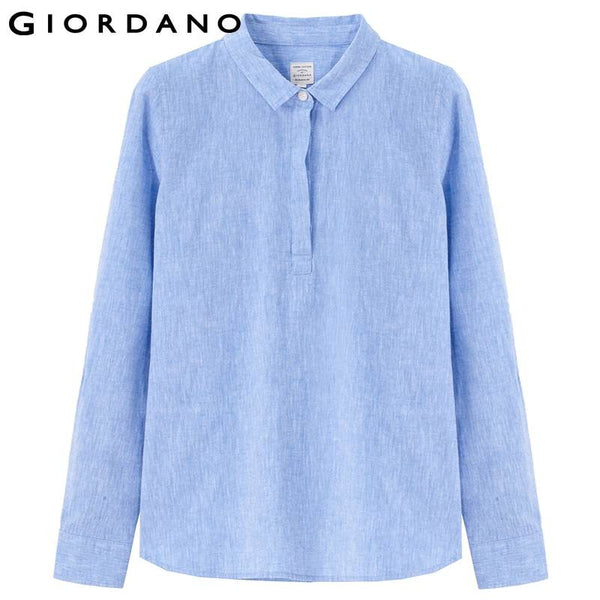 Giordano Women Linen Blouse Rollable Sleeves Cotton Blend Shirt Woman Soft Casual Blouse for Woman Blusas y Camisas Mujer
