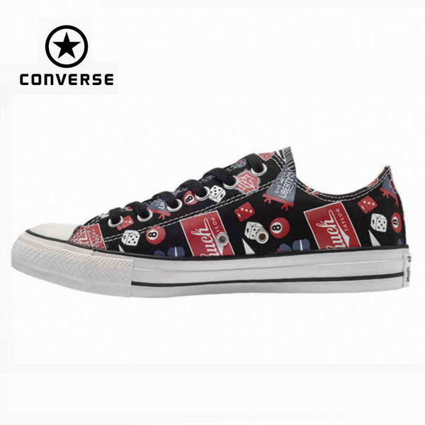 Original Converse all star shoes men sneakerspattern hand-painted low canvas shoes men's classic Skateboarding free shipping