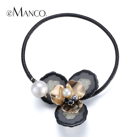 //Big resin flower choker torques necklace beads// zinc alloy jewelry 2015 black trendy choker necklace women eManco NL13362