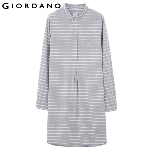 Giordano Women Solid Shirt Dress Half Button Office Dresses Long Sleeves Ladies Clothes Vestidos Femininos Dames Jurken