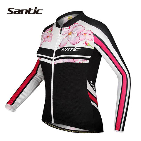 2016 Santic Brand Long Sleeve Cycling Jersey Black Flower Print Quick-Dry Bike Spring Cycling Clothes Long Ladies S-3XL LC01037