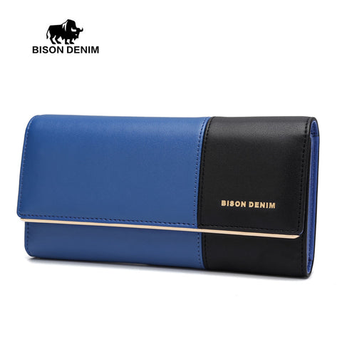 Bison Denim genuine leather bicolor women long wallet high-capacity clutch bag