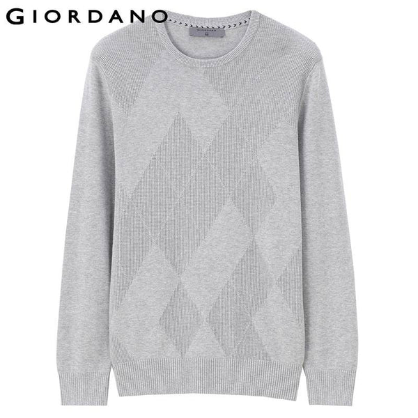 Giordano Men Woven Sweater Mens Stripe Crewneck Sweaters Knitted Pullover Woven Pattern Men Jersey Hombre Sueter Hombre