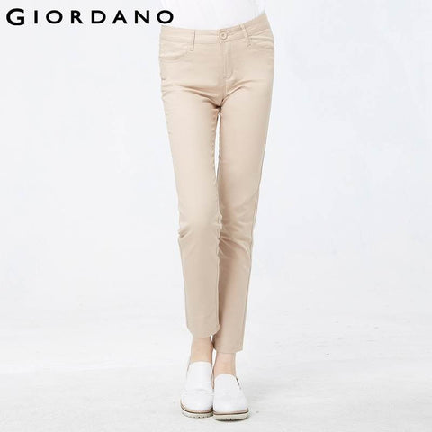 Giordano Women Khakis Brand Soft Pants Solid Slim Pants for Women Stretchy Female Casual Trousers Calca Feminina