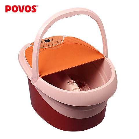 POVOS LED Display Temperature Fully-automatic Electric Foot Bath Vibration Massage Foot Bucket  Clean Machine (220-240V) PW706