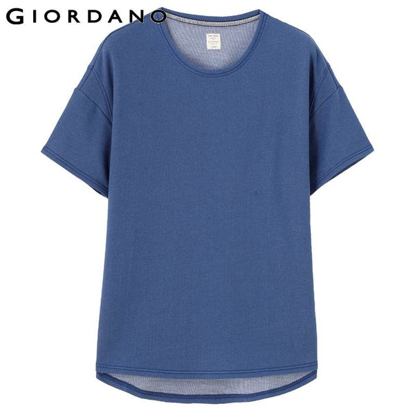 Giordano Women Tee Short Sleeves O-neck T-shirt Womens Blue Dyed Tops Summer Casual Clothing Blusa Camisetas Style Tees