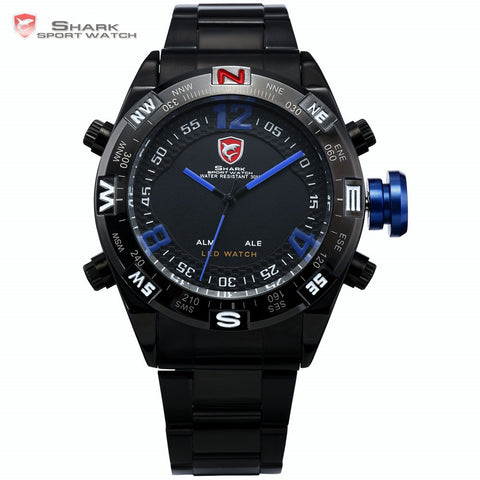 Army Dynamic SHARK Sport Watch Men Black Stainless Steel Band Digital LED Date Alarm Blue Outdoor Analog Quartz Wristwatch/SH100