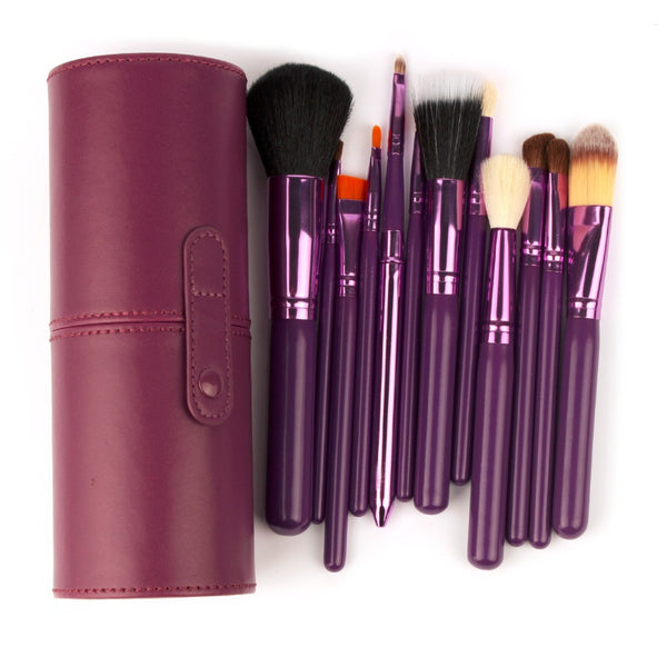 New 12Pcs Professional Makeup Brush Set 12 pcs Kit w/ Leather Cup Holder Case kit