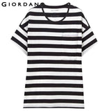 Giordano Women Tee Short Sleeves Soft Cotton O-neck Mujer Jersey Stripes T-shirt Summer Camisa Tops Casual Feminas Clothing