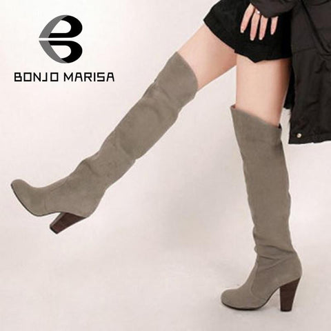 Big size 34-43 Women Knee Boots 2015 Sexy Vintage Chunky High Heels Spring Autumn Shoes Round Toe Less Platform Motorcycle Boots