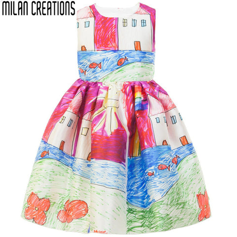 Baby Girl Dresses 2015 Girls Summer Dress Princess Rose Flower Children Dress Casual Designer Kids Dresses for Girls Clothes