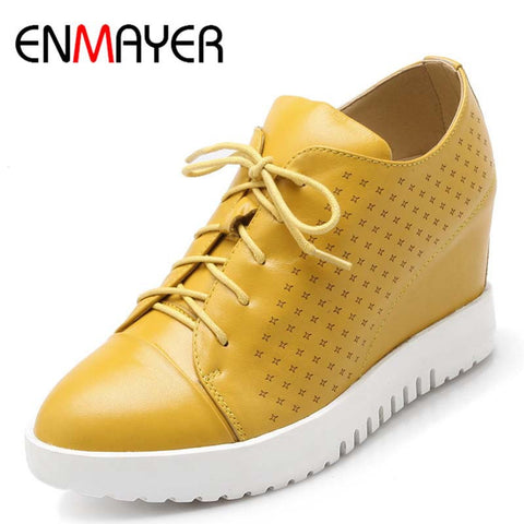 ENMAYER New Shoes Sneakers Height Increasing Women Sport for Women Sneakers Round Toe Genuine Leather Sneakers Sale