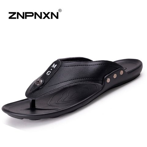 ZNPNXN Brand Flip Flops Men Sandals Summer Slippers Men Leather Sandals Beach Shoes For Men Flip Flops 2016