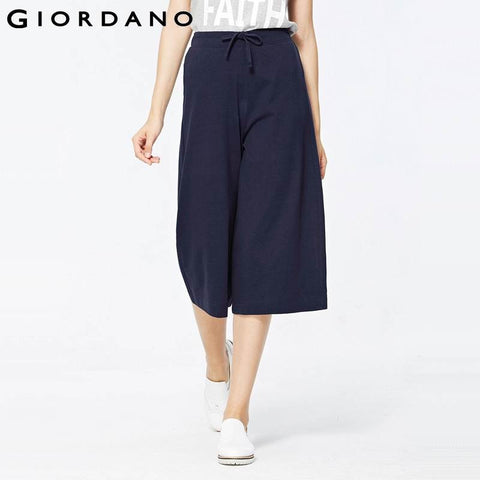 Giordano Women Pants Crop Solid Knitted Pants Wide Leg Woman Culottes Trousers Casual Summer Pantalones Capris Femme