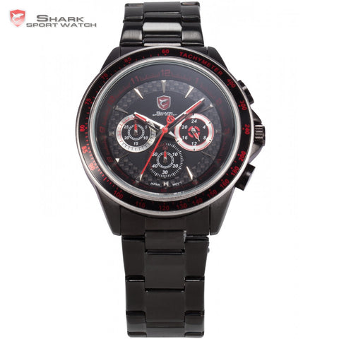 Bramble Shark Sport Watch Stainless Steel Case Black Red 24Hr Display 3D Logo Male Clock Outdoor Men Quartz Sport Watches /SH241